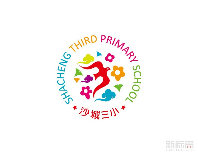 温州沙城第三小学校徽logo