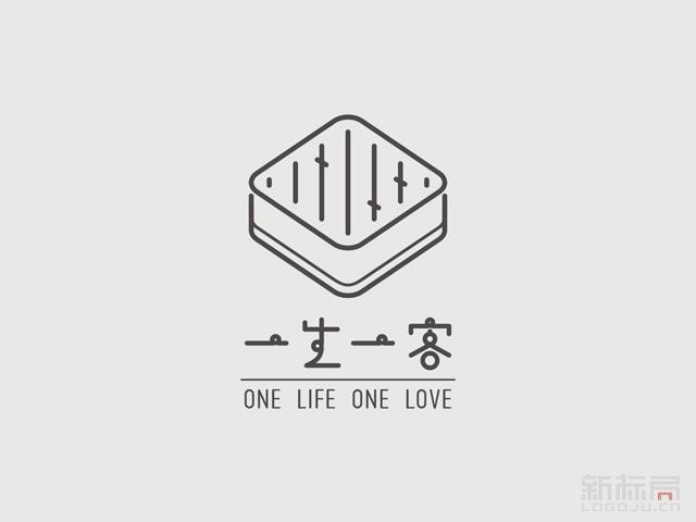 一生一客蛋糕标志logo字体设计