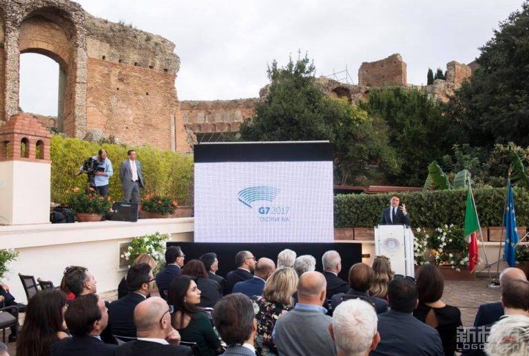 意大利总理伦齐公布2017年七国集团(G7)峰会标志logo
