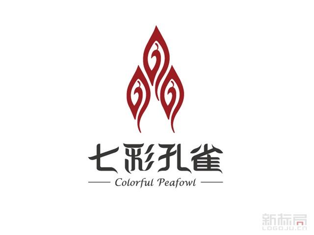 七彩孔雀茶叶品牌标志logo