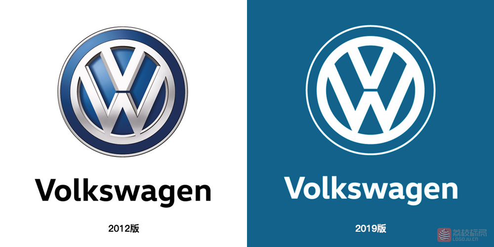 大众汽车启用全新单色版品牌标志logo